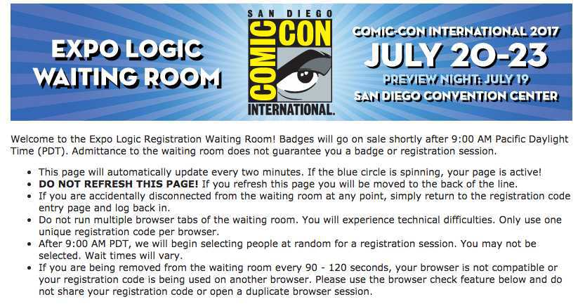 Comic Con Badges Sold Out