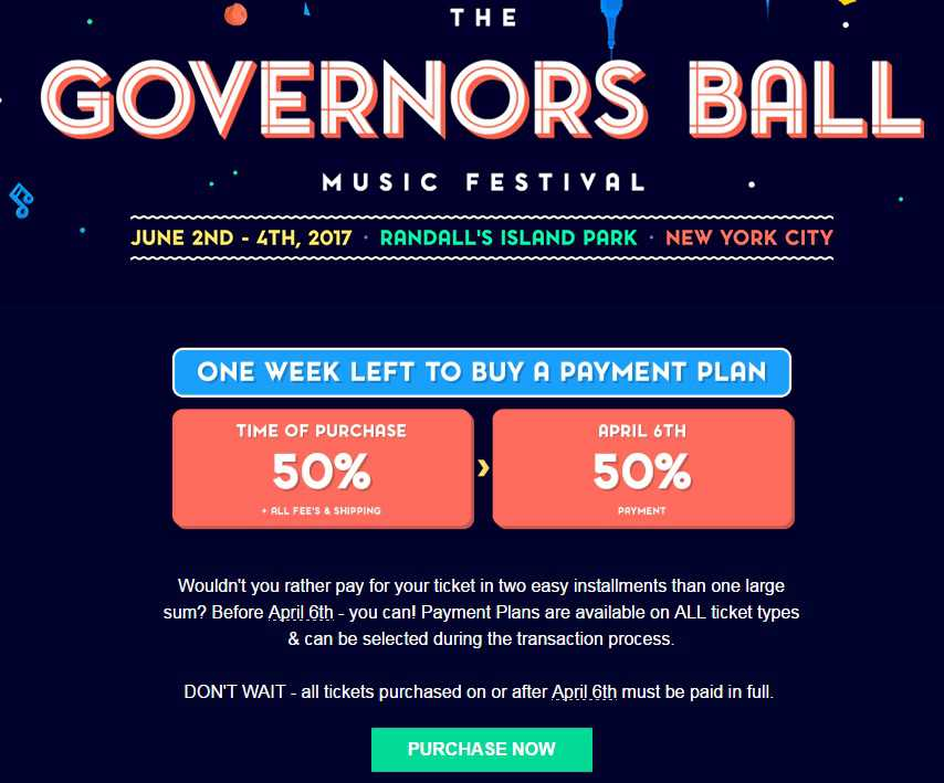 Governors Ball Payment Plan