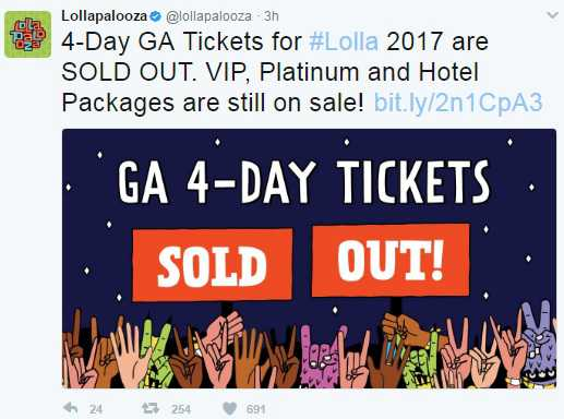 Lollapalooza 2017 Sold Out