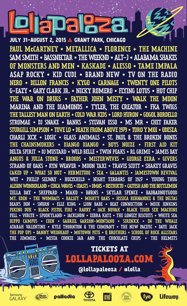 lollapalooza lineup current past lineups. Black Bedroom Furniture Sets. Home Design Ideas