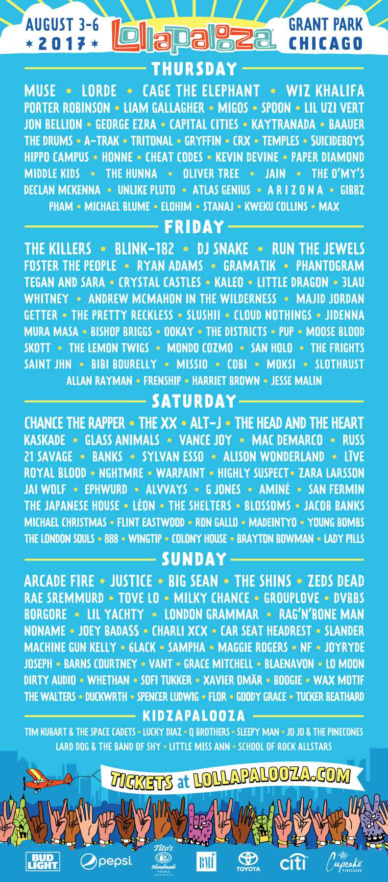 Lolla 2017 Lineup