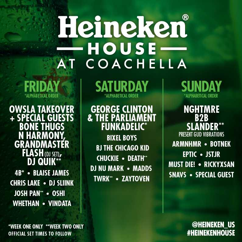 Official Heineken House Lineup
