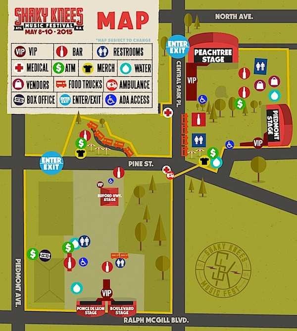 Shaky Knees Map