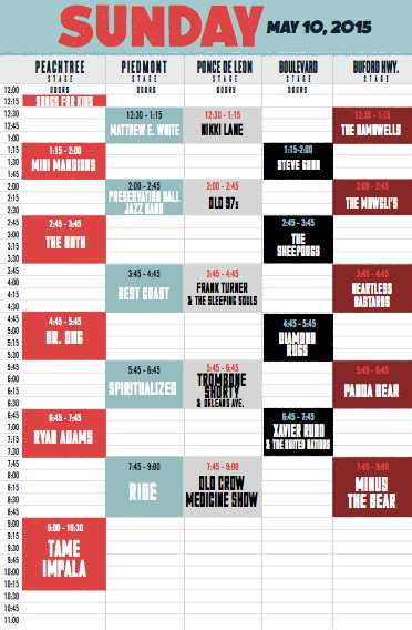 Shaky Knees Set Times