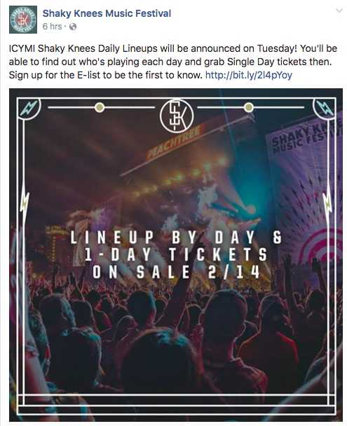 Shaky Knees Single Day Passes