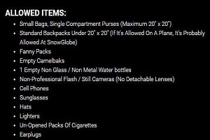 What you can and cannot bring to Snowglobe